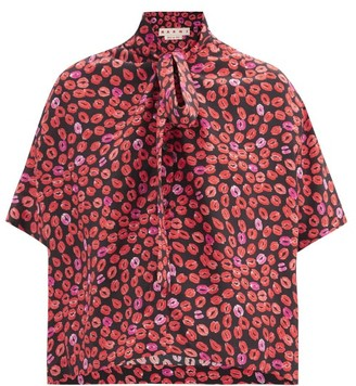 Marni Small Kisses Pussy-bow Lip-print Silk-crepe Shirt - Black Print