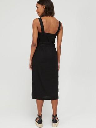 Very Button Through Midi Pinny Linen Dress - Black