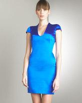 Duchesse Silk Cap-Sleeve Dress