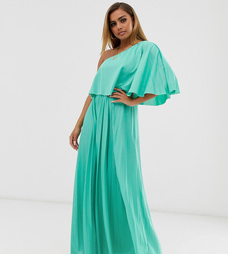 Asos DESIGN Petite one shoulder pleated crop top maxi dress