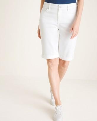 So Slimming No-Stain White Girlfriend Shorts- 12 Inch Inseam