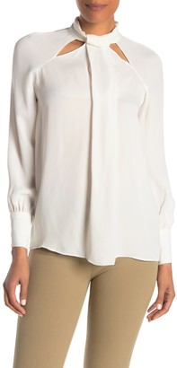 Reiss Ingrid Tie Neck Cutout Blouse