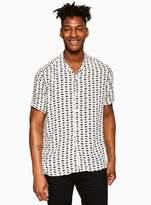 Topman White Geometric Print Revere Shirt