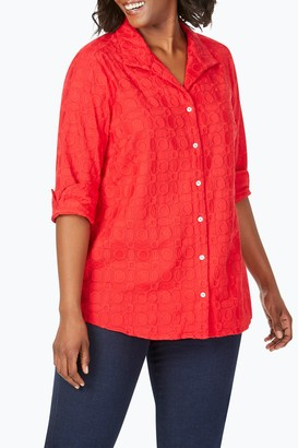 Foxcroft Dani 3/4 Sleeve Embroidered Blouse (Plus Size)
