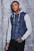 boohoo Denim Jacket With Jersey Sleeves And Hood