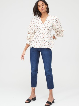 Very Printed Cotton Poplin Blouse - Red Floral