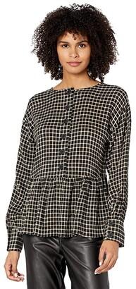 Madewell Button-Back Peplum Top in Mini Windowpane (Check Twill) Women's Clothing
