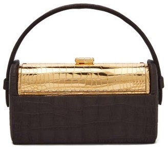 BIENEN-DAVIS Regine Crocodile-debossed Satin Minaudiere Clutch - Black