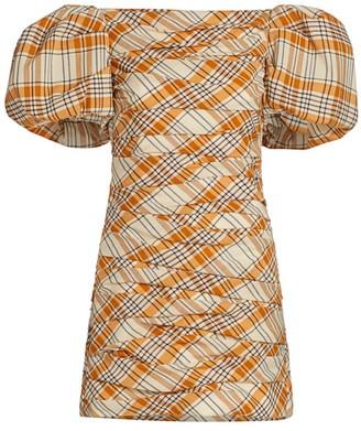 KHAITE Shelly Gathered Puff-Sleeve Wool Dress