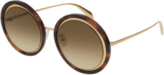 Alexander McQueen Oversized Round Acetate/Metal Sunglasses