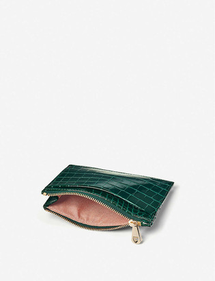 Aspinal of London Croc-embossed double-sided leather card holder