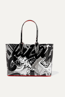 Christian Louboutin Cabata Small Spiked Printed Patent-leather Tote - Black