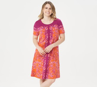 Isaac Mizrahi Live! Engineered Floral Print T-Shirt Dress