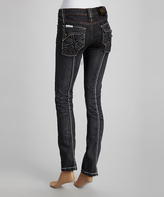 Rebel Spirit Black Back-Seam Boyfriend Jeans