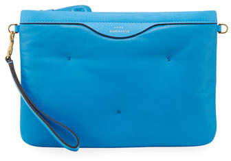 Anya Hindmarch Chubby Crossbody Leather Pouch-on-Strap, Blue
