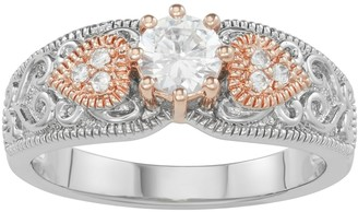 Lily & Lace 14k Rose Gold Over Bronze Cubic Zirconia Filigree Ring