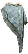 Greg Lauren asymmetric camouflage hoodie