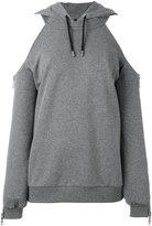 Versus cold shoulder hoodie - women - Cotton/Spandex/Elastane - S