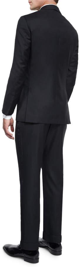 Isaia Satin Peak-Lapel One-Button Wool Tuxedo, Black