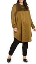 Eileen Fisher Mandarin Collar Satin Tunic Top