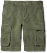 Incotex Textured Cotton and Linen-Blend Cargo Shorts
