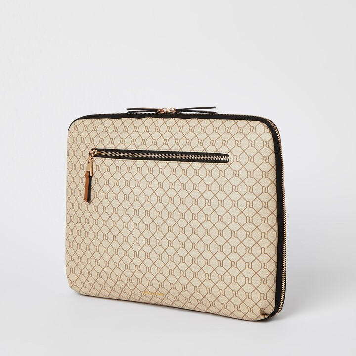 Thumbnail for your product : River Island Womens Beige monogram laptop case