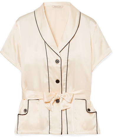 Morgan Lane - Charlotte Belted Silk-charmeuse Pajama Top - Ivory
