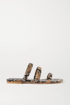 AEYDĒ Chrissy Snake-effect Leather Slides - Snake print