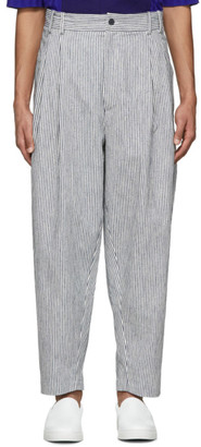 House of the Very Islands White and Navy Striped Linen Trousers