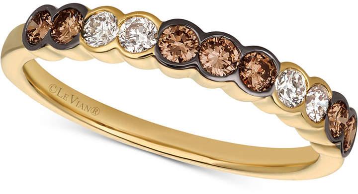 LeVian Le Vian Chocolate & NudeTM Diamond Bezel Ring (1/2 ct. t.w.) in 14k Gold