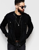 Asos Collarless Denim Jacket In Black