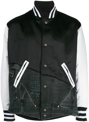 Greg Lauren Asymmetric Satin And Denim Varsity Jacket