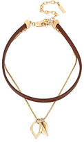Kenneth Cole New York Multi-Strand Leather Choker & Leaf Pendant Necklace