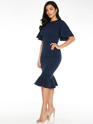 Quiz Fluted Sleeve Midi Dress - Navy