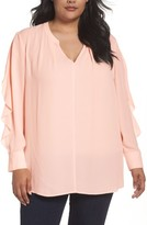 Sejour Plus Size Women's Split Neck Ruffle Sleeve Tunic