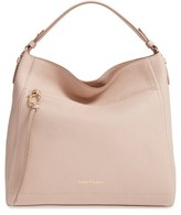 Salvatore Ferragamo Calfskin Leather Hobo - Beige
