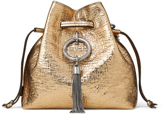 Jimmy Choo CALLIE DRAWSTRING/S Metallic Vintage Goat Leather Bucket Bag with Chain Strap