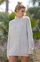 La Hearts Chunky Cable Mock Neck Pullover Sweater