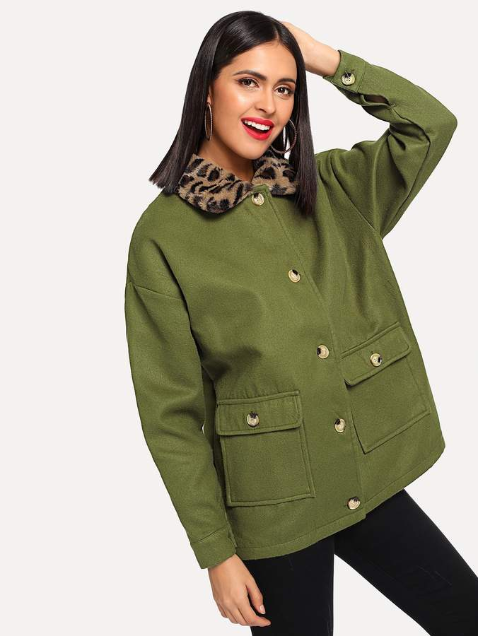 41bee2cc03 Army Green Coat With Fur - ShopStyle