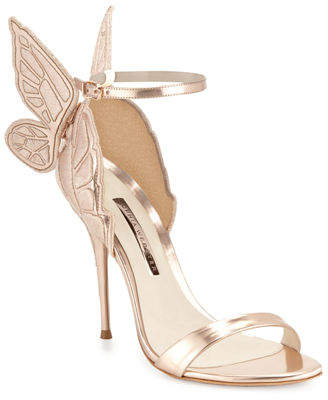 Sophia Webster Chiara Butterfly Wing Ankle-Wrap Sandals, Gold