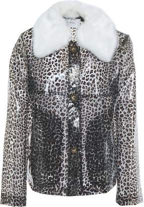 Stand Studio Faux Shearling-trimmed Leopard-print Pvc Jacket