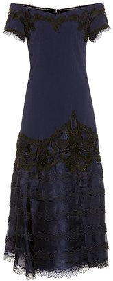 Jonathan Simkhai Lace-trimmed crApe dress