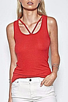 Michael Lauren Red Cut Out Tank