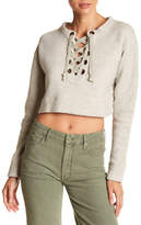 Mother The Lace-Up Easy Crop Sweater