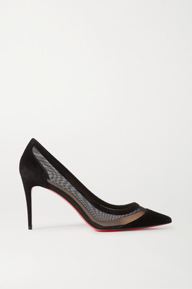 Christian Louboutin Galativi 85 Suede And Mesh Pumps - Black