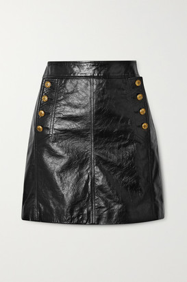 Givenchy Button-embellished Textured-leather Mini Skirt - Black