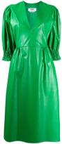 MSGM Leather Look Full Sleeve Dress