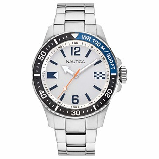 Nautica Men's NAPFRB921 Freeboard Silver/White/Navy Stainless Steel Bracelet Watch