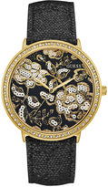 GUESS Women's Black Leather Strap Watch 43mm U0820L1