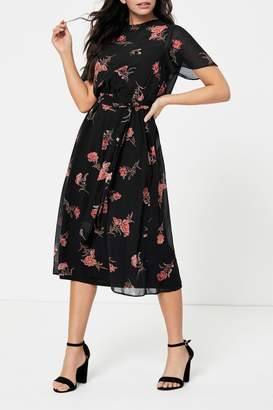 Dorothy Perkins Womens Floral Chiffon Belted Fit Flared Dress - Black